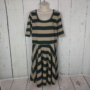 Women's Lularoe Striped Nicole Flare Dress 3XL